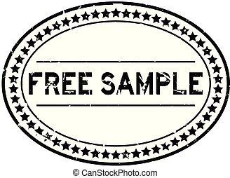 Grunge black free sample word oval rubber seal stamp on white background
