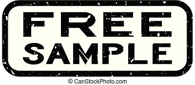 Grunge black free sample word square rubber seal stamp on white background