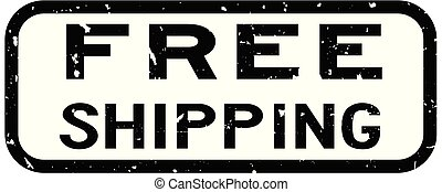 Grunge black free shipping word square rubber seal stamp on white background