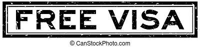 Grunge black free visa word square rubber seal stamp on white background