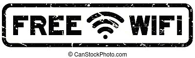 Grunge black free wifi with icon square rubber seal stamp on white background