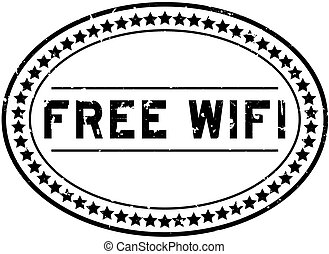 Grunge black free wifi word oval rubber seal stamp on white background