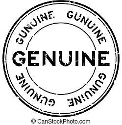 Grunge black genuine word round rubber seal stamp on white background