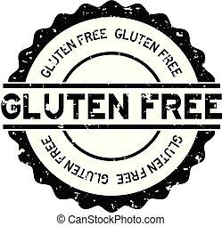 Grunge black gluten free word round rubber seal stamp on white background