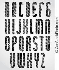 Grunge black grated lower case letters, decorative narrow font o