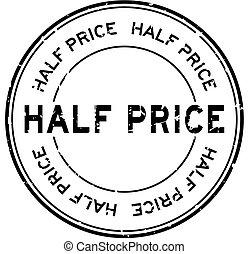 Grunge black half price word round rubber seal stamp on white background
