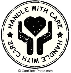 Grunge black handle with care round rubber stamp