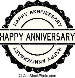 Grunge black happy anniversary word round rubber seal stamp ...