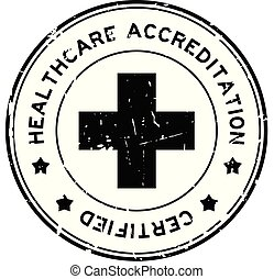 Grunge black healthcare accreditation round rubber seal ...