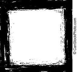 grunge black ink border frame background, vector paint brush