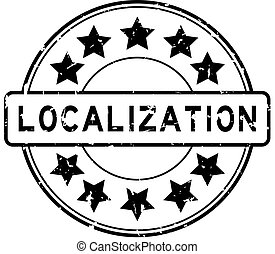 Grunge black localization word with star icon round rubber seal stamp on white background