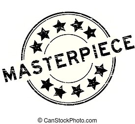 Grunge black masterpiece round rubber stamp on white background