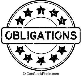Grunge black obligations word with star icon round rubber seal stamp on white background