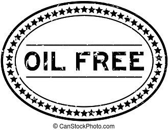 Grunge black oil free word oval rubber seal stamp on white background