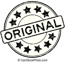 Grunge black original with star icon round rubber stamp on white background