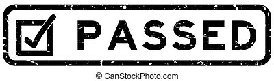 Grunge black passed with check mark icon square rubber seal stamp on white background