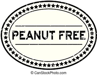 Grunge black peanut free word oval rubber seal stamp on white background