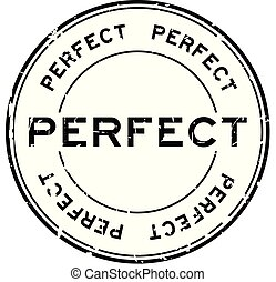 Grunge black perfect round rubber seal stamp on white background