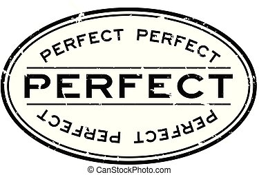 Grunge black perfect word oval rubber seal stamp on white background