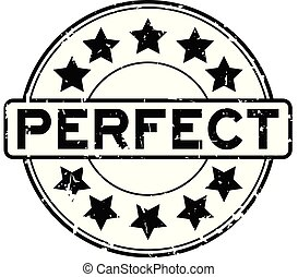 Grunge black perfect word with star icon round rubber seal stamp on white background