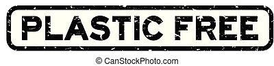 Grunge black plastic free word square rubber seal stamp on white background