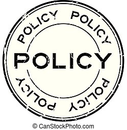 Grunge black policy word round rubber seal stamp on white background