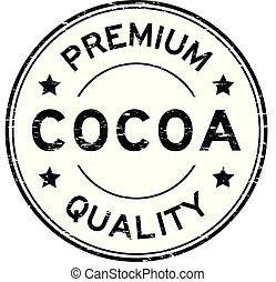 Grunge black premium quality cocoa round rubber seal stamp