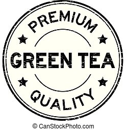 Grunge black premium quality green tea round rubber stamp