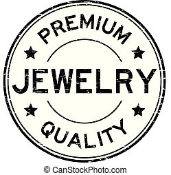 Grunge black premium quality jewelry round rubber stamp
