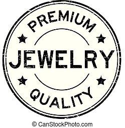Grunge black premium quality jewelry round rubber stamp