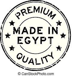 Grunge black premium quality made in Egypt round rubber seal stamp on white background