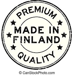 Grunge black premium quality made in finland round rubber seal stamp