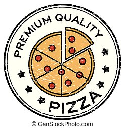 Grunge black premium quality pizza with colorful slice plate logo round rubber stamp
