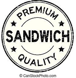 Grunge black premium quality sandwich round rubber stamp