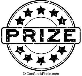 Grunge black prize word round rubber seal stamp on white background