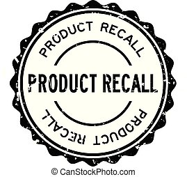 Grunge black product recall word round rubber seal stamp on white background