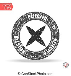 Grunge black rejected round rubber seal stamp on white background