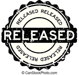 Grunge black released round rubber seal stamp on white background