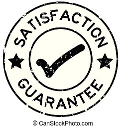 Grunge black satisfaction guarantee with mark icon round rubber seal stamp on white background
