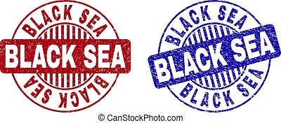 Grunge BLACK SEA Scratched Round Stamps