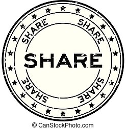 Grunge black share word with star icon round rubber seal stamp on white background