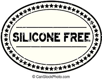 Grunge black silicone free word oval rubber seal stamp on white background
