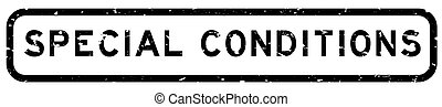 Grunge black special conditions word square rubber seal stamp on white background