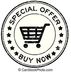 Grunge black special offer buy now with shopping cart icon round rubber seal stamp