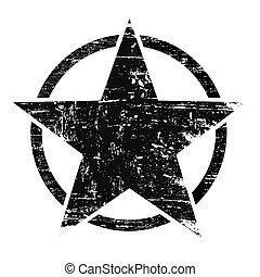 Grunge black star in circle