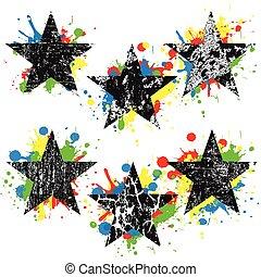 Grunge black stars on colored splashes over white background