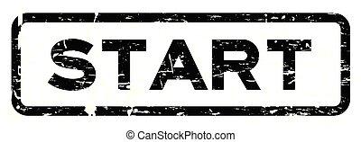 Grunge black start square rubber seal stamp on white background