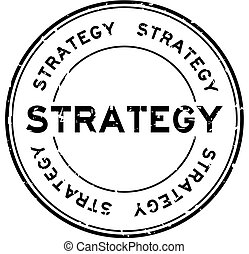 Grunge black strategy word round rubber seal stamp on white background