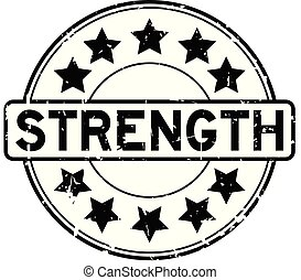 Grunge black strength word with star icon round rubber seal stamp on white background