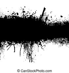grunge black strip - Grunge banner with an inky dribble...